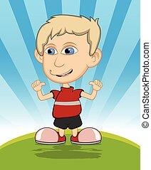The boy laughing cartoon vector
