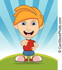 The boy laughing vector