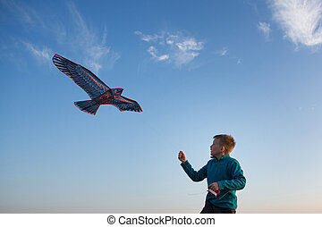 The boy launches a kite. Kite flying. Beautiful sunset. Mountains, sea, landscape. Summer day, sunny. eagle kite