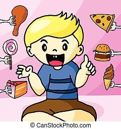 The boy like fast food