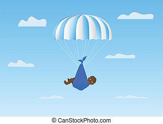 The boy on a blue parachute