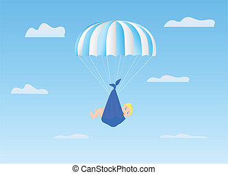 The boy on a parachute