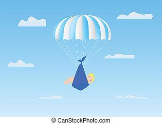 The boy on a parachute