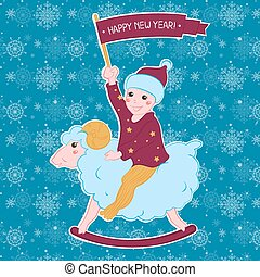 the boy on the lamb with a flag. New year card