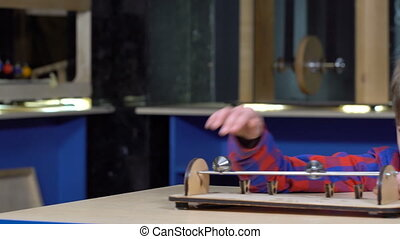 The boy on the roller rods rolls. Cabinet of Physics in the...
