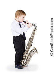 The boy plays a saxophone