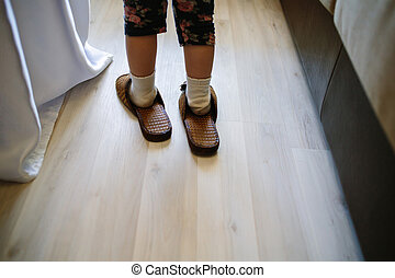 father's house slippers - The boy put on his father's house ...
