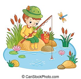 The boy sits and catches fish in a pond.