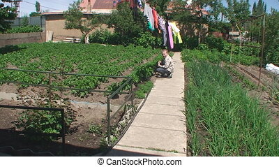 the boy sits on a path in a kitchen garden