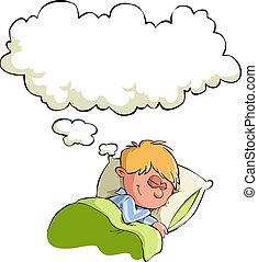 The boy sleeps - The boy has a dream, vector illustration