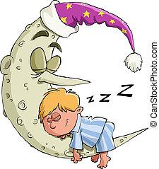 The boy is sleeping on the moon, vector