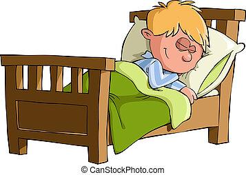 The boy was asleep in bed, vector