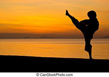 The boy - Silhouette taekwondo boy on the beach at dusk.
