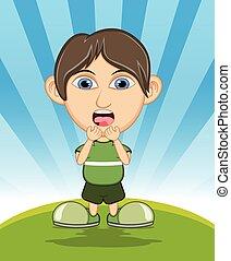 The boy surprised cartoon vector
