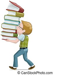 The boy with books cartoon illustration