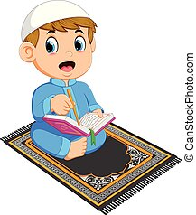 the boy with the blue caftan is reading the al qu ran on the prayer rug