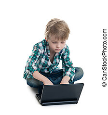 The boy with the laptop on a white