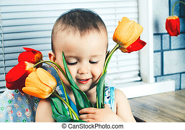 The boy with tulips