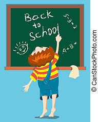 The boy writes on a blackboard.