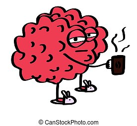 The brain holds a mug of coffee on a white background. Cartoon. Vector.