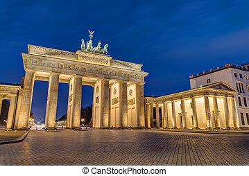 The Brandenburg Gate in Berlin at night