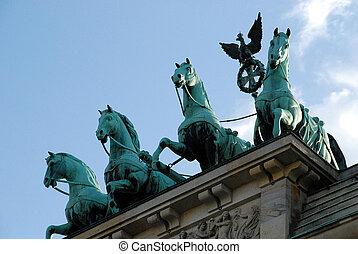The Brandenburg Gate quadriga in Berlin, Germany
