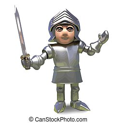 The brave medieval armour clad knight wields his trusty sword,3d illustration