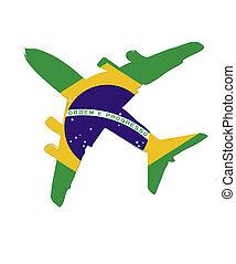 The Brazil flag painted on the silhouette of a aircraft. glossy illustration