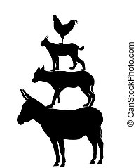 the Bremen town musicians - silhouette - this is a...