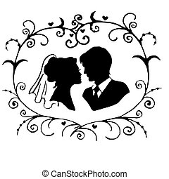 the bride and groom in floral ornament