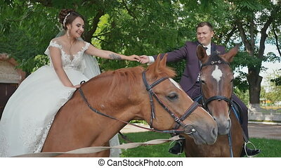 The bride and groom, holding hands, sit on magnificent horses in a beautiful green park on the day of their wedding. Happy together.