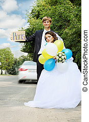 The bride and groom travel