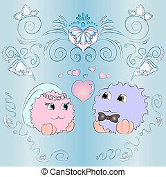 the bride and groom wedding card with ornaments blue background
