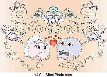 the bride and groom wedding card with ornaments