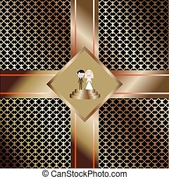 The bride and groom, wedding figures of the newlyweds of the invitation card with a strict geometric pattern on the background