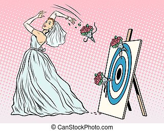 The bride bouquet flower girl throws on target