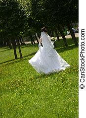 The bride in park