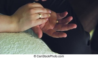 the bride's hands with manicure