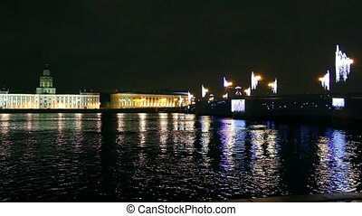 The bridge across the Neva River in St. Petersburg on Christmas night