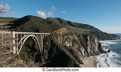The bridge and the coastline in the Redwood Parks