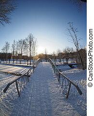 The bridge in park. Petrozavodsk, Russia.
