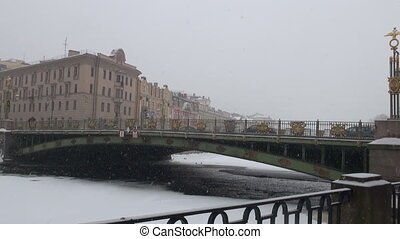 The bridge in St. Petersburg. The winter.
