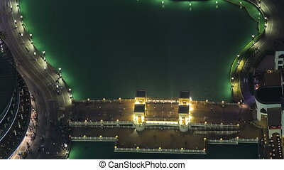 The bridge near the biggest musical fountain in Dubai, UAE timelapse