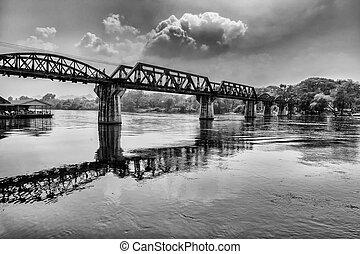 The bridge on the river Kwai- the bridge in Kanchanaburi,...