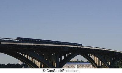 The bridge on which the subway rides. Kiev. Ukraine. Dnepr...