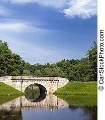 The bridge over a river in park