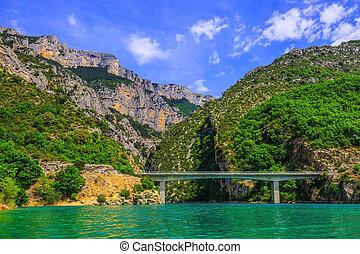 The bridge over canyon and river Verdon