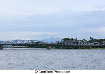 The bridge over the river in Vietnam
