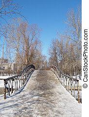 The bridge through the river in the winter