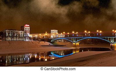 The bridge through the river Zapadnaya Dvina, Vitebsk, ...
